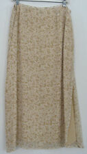 Isabella Bird Silk Skirt, 16 P; Long Skirt in a Beige Print; NWOT