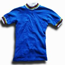 VINTAGE RAINBOW TRIM TRICODOR RETRO EROICA ACRYLIC CYCLING JERSEY TOP LABEL: 0