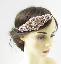 Rose Gold & Silver Diamante Headpiece Flapper Bridal Headband Vintage 1920s 300