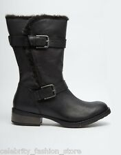 Steve Madden Casual Winter Buckle Caveat Black Leather Ankle Boots Size 8 41 New