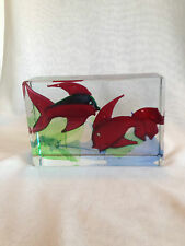 VERY LARGE  MURANO ART GLASS AQUARIUM -- SIGNED AND NUMBERED --13.2 Lbs