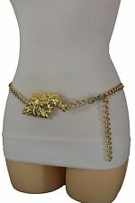 Women Fashion Belt Gold Metal Chain Link Hip Waist Horse Head Buckle Plus M L XL