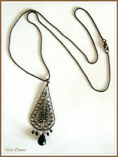 "ELEGANT 26"" LONG BLACK PENDANT NECKLACE WITH GLASS DROPS BY BIG METAL OF LONDON."