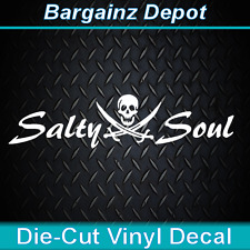 Vinyl Decal ... * SALTY SOUL Skull & Crossbones * .. Car Pirate Sticker Decal