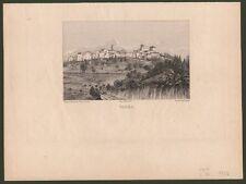 Lazio - Roma. NEROLA. Veduta del paese. Acquaforte di E. Hellé, circa anno 1880