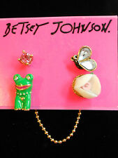 Betsey Johnson Walk in the Park Flower, Frog, and Crystal Bug 4 Piece Earrings