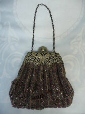 BEAUTIFUL VINTAGE CARNIVAL GLASS BEADED PURSE w/BUTTERFLY FRAME - NEEDS TLC