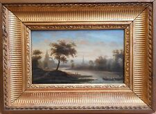 Continental River Scene, Oil on wood panel, indistinctly signed and dated 1849