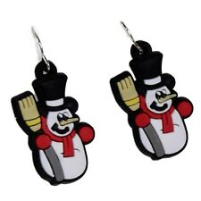 Novelty Christmas Rubber Snowman Motif Drop Earrings Festive Xmas Accessories