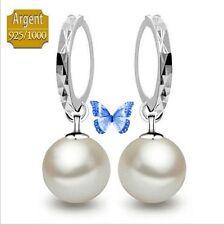 Boucles d'oreille Créoles Pendantes Perle 1 cm Argent 925/1000