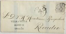 Spain 1879 wrapper 25 centimos Alfonso XII mailed Coruna to Rivadeo, no contents