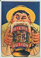 Affiche ancienne BIERE DU LION Bar Bistrot Brasserie Litho Entoilée 1930