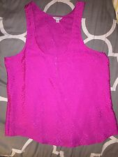 Forever 21 Heritage 1981 Hot Pink Fuchsia Silk Satin Tank M Leopard New H81 Cami