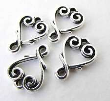 Vine Heart Charm Connector Link Antiqued Silver TierraCast Finding 13mm