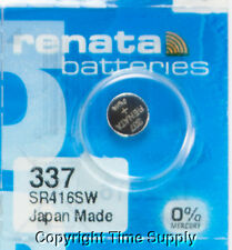 1 pc Renata 337 Watch Batteries 337 SR416SW FREE SHIP  0% MERCURY