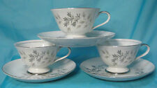 ARLEN Fine China - Silver Spray 1582 - Set of 3 Cups with Saucers
