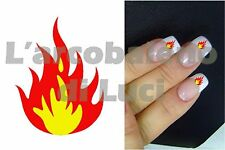 20 AUTOCOLLANTS POUR ONGLES FLAMME FEU dècoration FIRE FLAME NAILS ART STICKERS