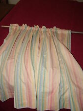 2 PANEL CURTAINS 25X29 EACH PASTEL STRIPES PINK YELLOW BLUE GR LINED ROD POCKET