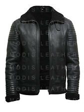 Mens B3 Bomber WW2 Aviator Flying Black fur Sheepskin Shearling Leather Jacket