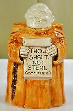 """Treasure Craft Monk/Friar Cookie Jar MCM """"Thou Shalt Not Steal Cookies"""" 1960's"""