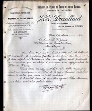 """TOURS (37) MATERIAUX de CONSTRUCTION / PIERRES de TAILLE """"J.N. DROUILLARD"""" 1910"""