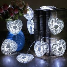 10 LED Cool White Metal Love Heart Christmas Wedding Party String Fairy Light