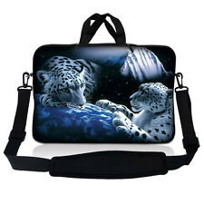 "10"" 9 Tablet Netbook Sleeve Bag Case Pouch Shoulder Strap iPad White Leopard S10"