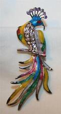 Handsome Silvertone Marbled Multi-Colored Enamel Rhinestone Peacock Brooch Pin