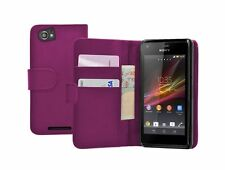 PURPLE Wallet Leather Case Cover for Sony Xperia M Dual / C2004 / C2005 experia