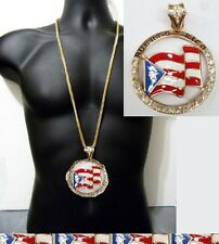 Hip Hop Puerto Rico Chain Iced Out Franco Necklace Flag Circle Pendant Crystals