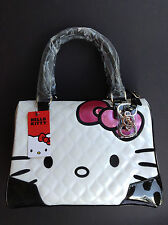NWT LOUNGEFLY HELLO KITTY White HANDBAG Pink BOW Shiny EMBOSSED Detail PURSE