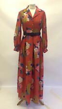 Gorgeous Vintage 60s 70s Roland Joyce Red Floral Floaty Maxi Dress Size 8 10