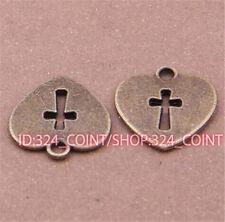 P548 12pc Antique Bronze heart cross Pendant Bead Charms Accessories wholesale