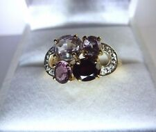 Gorgeous natural Multi-color Spinel&Diamond 10K Yellow Gold Ring