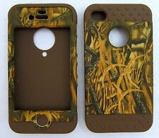 Silicone Hybrid Case For iPhone 4 4S Grass Camo Brown Skin