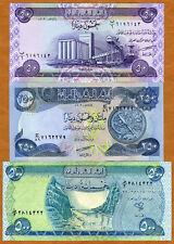 SET, Iraq, 50;250;500 Dinars, 2003-2004, Picks 90-91-92, UNC   first post-Saddam