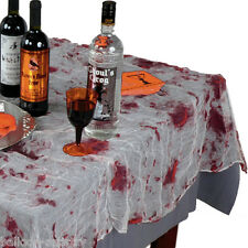 "60""x84"" Halloween Horror Party Chop Shop Bloody Gauze Table Cover"