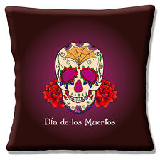 "NEW Retro Mexican Day of the Dead Sugar Skull Burgundy 16"" Pillow Cushion Cover"