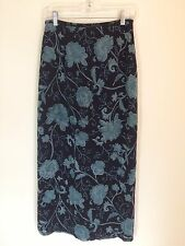 New Ann Taylor Women's Silk Floral Skirt Size 6 Navy Full Length NWT