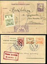 POLEN 1926 225-226,230 etc FLUGPOSTKARTEN KRAKAU bzw LODZ (S7825