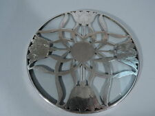 Art Nouveau Trivet - Antique Flowers - American Clear Glass & Silver Overlay