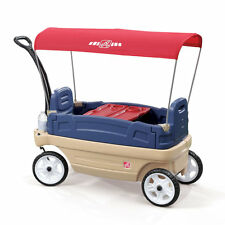 Step2 Whisper Ride Touring Wagon Blue Canopy Kids Pull Along Toddler Beach Play