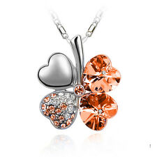 New Stainless Silver Plated Four Leaf Clover Cz Crystal Pendant Necklace Gift