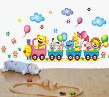 Autocollant mural stickers enfants garçons filles jungle train zoo animal