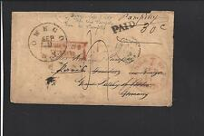 OWEGO, NEW YORK COVER,1855 STAMPLESS - TRANSATLANTIC TO GERMANY.  RARE!