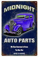 Midnight Auto Parts Hot Rod Garage Art Sign