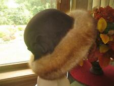 Excellent Brown Wool Golden Sable Fur Hat for Coat Jacket #1328s