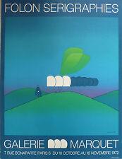 JEAN MICHEL FOLON / RARE AFFICHE SERIGRAPHIE GALERIE MARQUET 1972