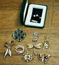Assorted Costume Jewelry - Brooches Earrings Necklace