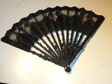 Antique Hand Carved Wood 19th Century Hand Fan Wooden Sticks & Black Lace